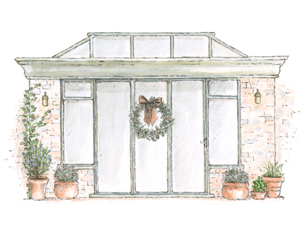 Orangeries with Christmas decorations